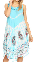 Sakkas Violeta Women's Tie Dye Paisley Caftan Midi Sleeveless Tank Dress  Cover Up#color_Turq