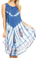 Sakkas Violeta Women's Tie Dye Paisley Caftan Midi Sleeveless Tank Dress  Cover Up#color_Blue