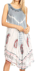 Sakkas Violeta Women's Tie Dye Paisley Caftan Midi Sleeveless Tank Dress  Cover Up#color_Charcoal