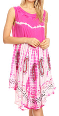 Sakkas Violeta Women's Tie Dye Paisley Caftan Midi Sleeveless Tank Dress  Cover Up#color_Pink