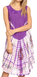 Sakkas Violeta Women's Tie Dye Paisley Caftan Midi Sleeveless Tank Dress  Cover Up#color_Purple