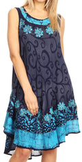 Sakkas Anabel Women's Short Flowy Caftan Tank Dress Cover up  Light Swing A-line#color_Navy / Turq