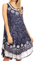 Sakkas Anabel Women's Short Flowy Caftan Tank Dress Cover up  Light Swing A-line#color_Navy / White