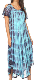 Sakkas Renata Women's Cold Shoulder Maxi Caftan Dress Sundress Flare Stonewashed#color_19246-TurqGrey