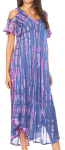 Sakkas Renata Women's Cold Shoulder Maxi Caftan Dress Sundress Flare Stonewashed