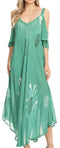 Sakkas Renata Women's Cold Shoulder Maxi Caftan Dress Sundress Flare Stonewashed#color_Aqua