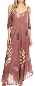 Sakkas Renata Women's Cold Shoulder Maxi Caftan Dress Sundress Flare Stonewashed#color_Mauve