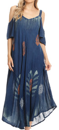 Sakkas Renata Women's Cold Shoulder Maxi Caftan Dress Sundress Flare Stonewashed#color_Navy