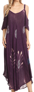 Sakkas Renata Women's Cold Shoulder Maxi Caftan Dress Sundress Flare Stonewashed#color_Purple