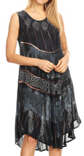 Sakkas Daniella Women's Flowy Tie Dye Relax Caftan Tank Dress Cover up Sleeveless#color_Black / Grey