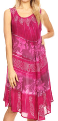 Sakkas Daniella Women's Flowy Tie Dye Relax Caftan Tank Dress Cover up Sleeveless#color_Fuchsia / Pink