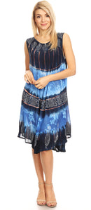 Sakkas Daniella Women's Flowy Tie Dye Relax Caftan Tank Dress Cover up Sleeveless