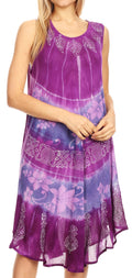 Sakkas Daniella Women's Flowy Tie Dye Relax Caftan Tank Dress Cover up Sleeveless#color_Purple