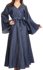 Sakkas Ximena  Long Wrap Around Bell Sleeve Chambray Full Circle Dress Casual