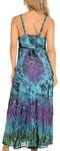 Sakkas Adela Women's Tie Dye Embroidered Adjustable Spaghetti Straps Long Dress#color_Fuschia