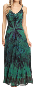 Sakkas Adela Women's Tie Dye Embroidered Adjustable Spaghetti Straps Long Dress#color_Green