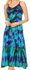 Sakkas Adela Women's Tie Dye Embroidered Adjustable Spaghetti Straps Long Dress#color_Turquoise