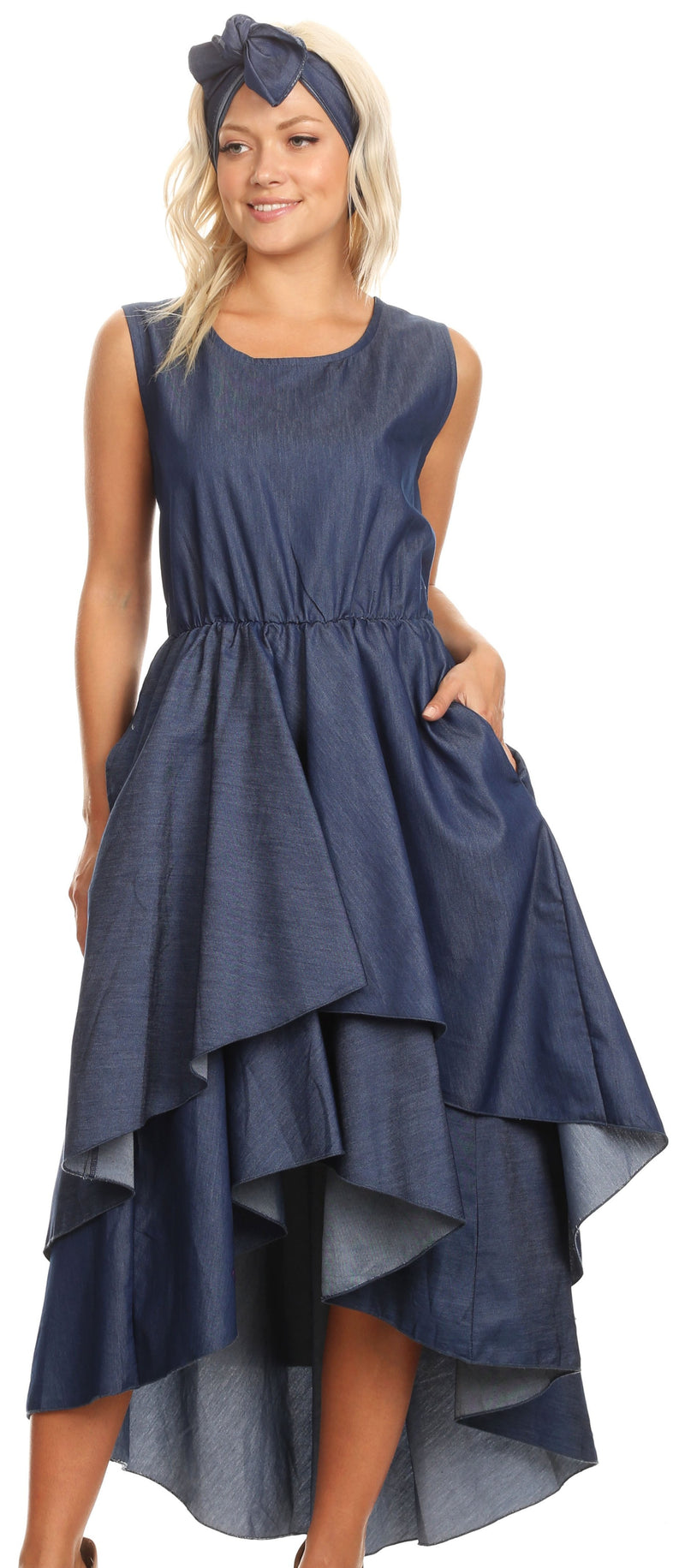Sakkas Emalia Women's Sleeveless Cocktail High Low Hem Dress with Pockets Chambray