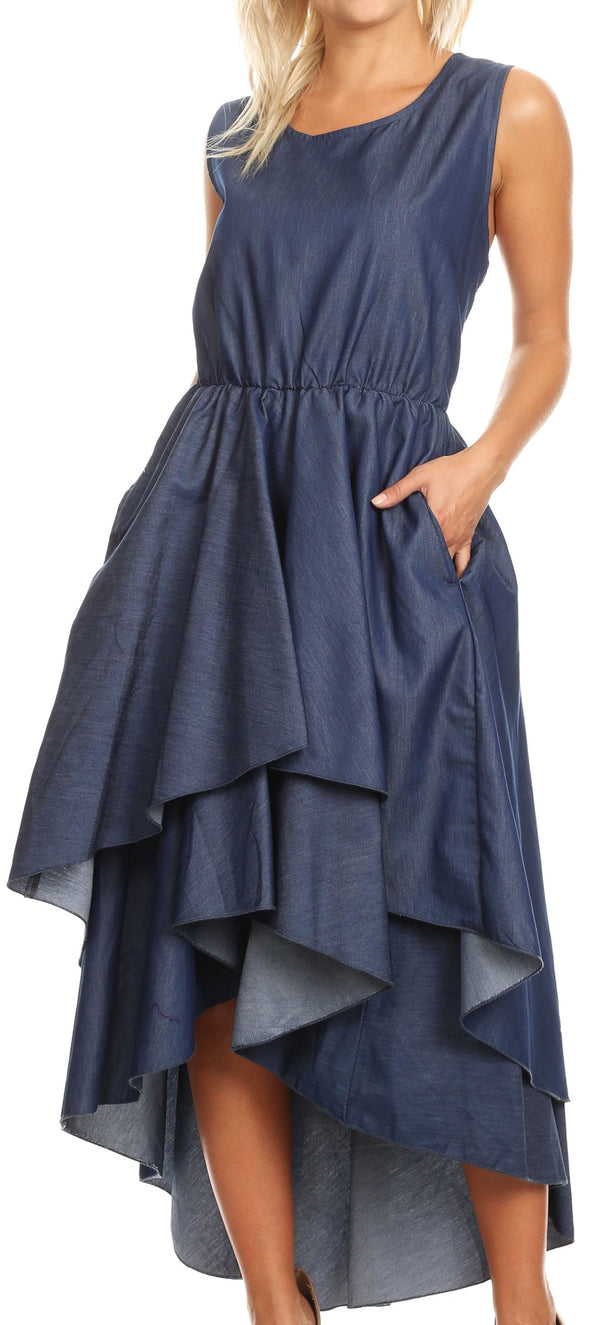 Sakkas Emalia Women's Sleeveless Cocktail High Low Hem Dress with Pockets Chambray#color_Chambray