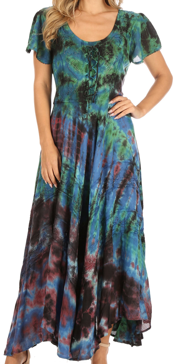 Sakkas Lia Short Sleeve Peasant Maxi Corset Tie-dye Dress with Embroidery Runs Big#color_Blue