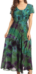 Sakkas Lia Short Sleeve Peasant Maxi Corset Tie-dye Dress with Embroidery Runs Big#color_Green