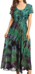 Sakkas Lia Short Sleeve Peasant Maxi Corset Tie-dye Dress with Embroidery Runs Big