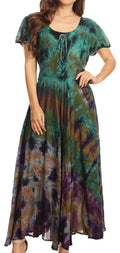 Sakkas Lia Short Sleeve Peasant Maxi Corset Tie-dye Dress with Embroidery Runs Big#color_Olive