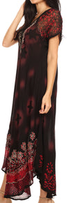 group-Black Red (Sakkas Marga Women Maxi Summer Caftan Swimsuit Beach Cover Up Dress with Lace)