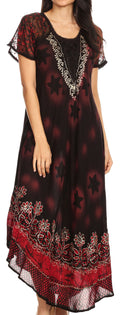 Sakkas Marga Women Maxi Summer Caftan Swimsuit Beach Cover Up Dress with Lace#color_Black Red