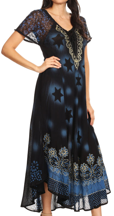 group-Black / Blue (Sakkas Marga Women Maxi Summer Caftan Swimsuit Beach Cover Up Dress with Lace)