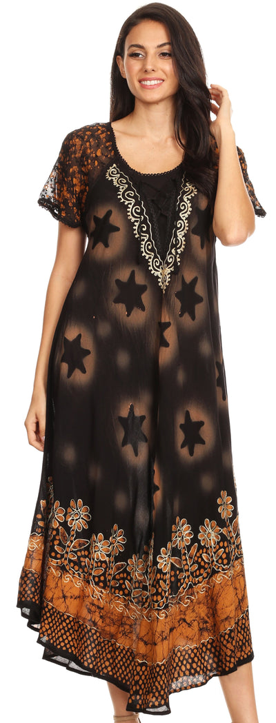group-Black Gold (Sakkas Marga Women Maxi Summer Caftan Swimsuit Beach Cover Up Dress with Lace)