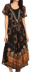 Sakkas Marga Women Maxi Summer Caftan Swimsuit Beach Cover Up Dress with Lace#color_Black Gold