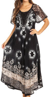 group-Black / White (Sakkas Marga Women Maxi Summer Caftan Swimsuit Beach Cover Up Dress with Lace)