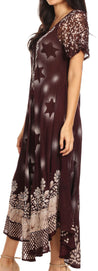 group-Choco Cream (Sakkas Marga Women Maxi Summer Caftan Swimsuit Beach Cover Up Dress with Lace)