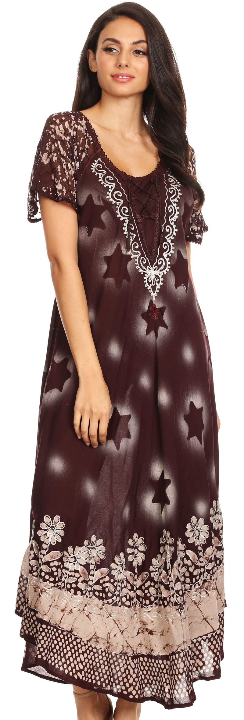 Sakkas Marga Women Maxi Summer Caftan Swimsuit Beach Cover Up Dress with Lace