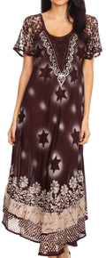 Sakkas Marga Women Maxi Summer Caftan Swimsuit Beach Cover Up Dress with Lace#color_Choco Cream