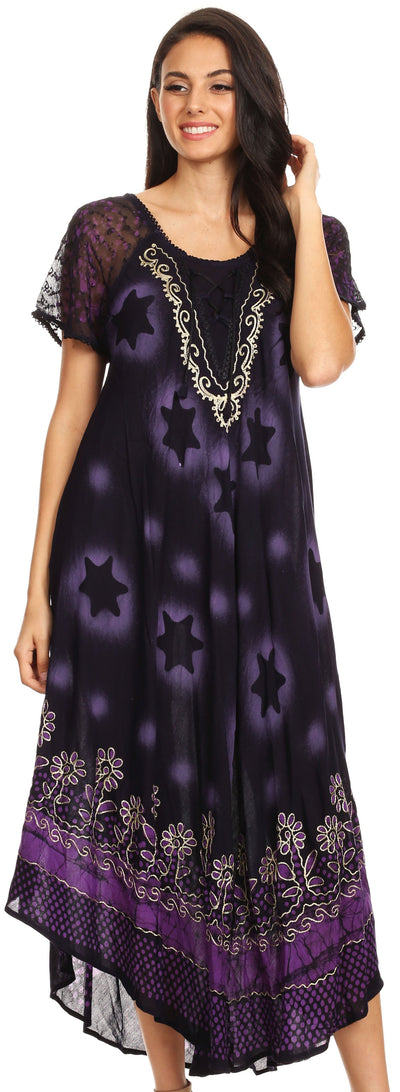 group-Navy Purple (Sakkas Marga Women Maxi Summer Caftan Swimsuit Beach Cover Up Dress with Lace)