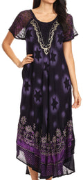 Sakkas Marga Women Maxi Summer Caftan Swimsuit Beach Cover Up Dress with Lace#color_Navy Purple