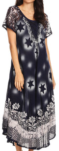 Sakkas Marga Women Maxi Summer Caftan Swimsuit Beach Cover Up Dress with Lace#color_Navy White