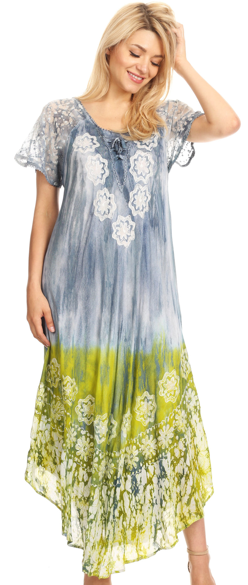 group-Ocean Grey (Sakkas Sofia Women's Flowy Summer Maxi Beach Dress Tie-dye w/Batik & Short Sleeves)