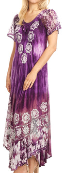 group-Purple (Sakkas Sofia Women's Flowy Summer Maxi Beach Dress Tie-dye w/Batik & Short Sleeves)