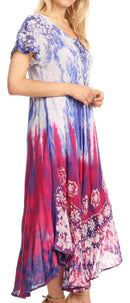 group-Royal blue (Sakkas Sofia Women's Flowy Summer Maxi Beach Dress Tie-dye w/Batik & Short Sleeves)