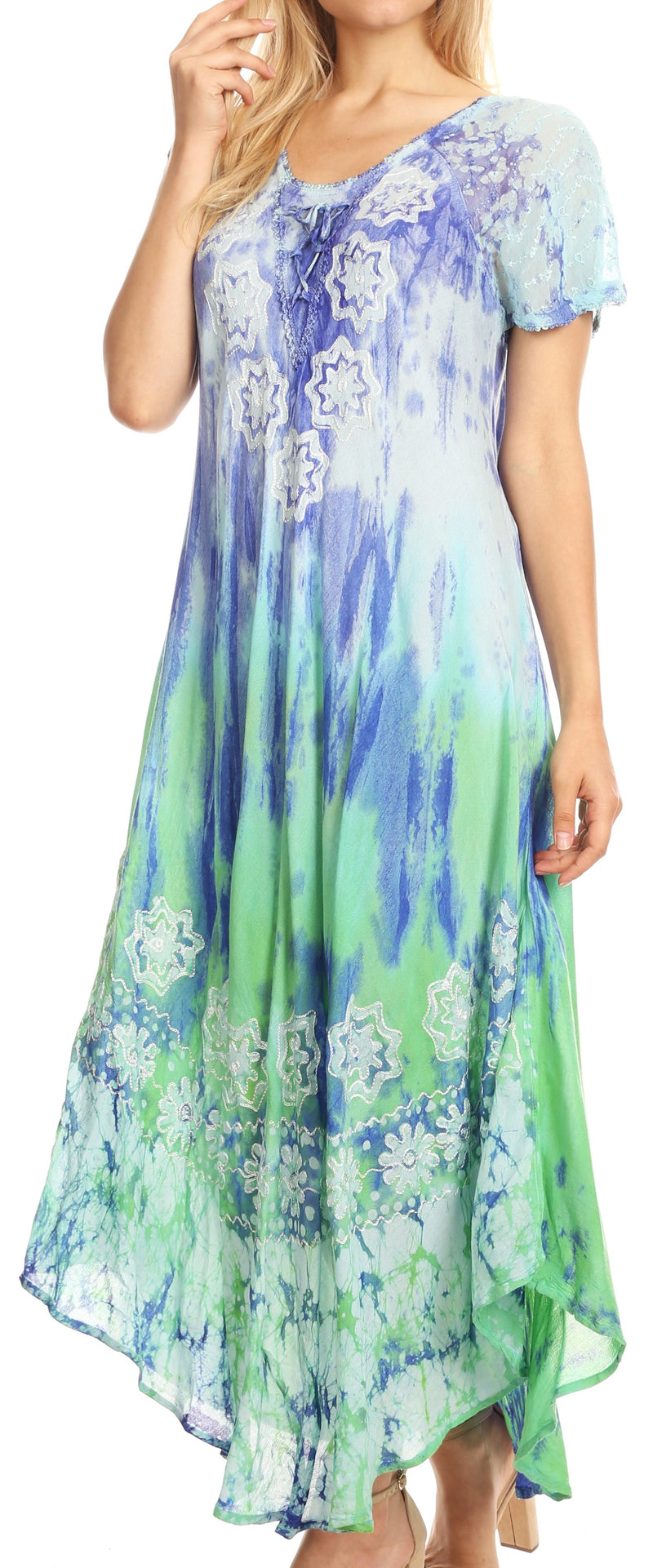 group-Royal Blue / Turquoise (Sakkas Sofia Women's Flowy Summer Maxi Beach Dress Tie-dye w/Batik & Short Sleeves)