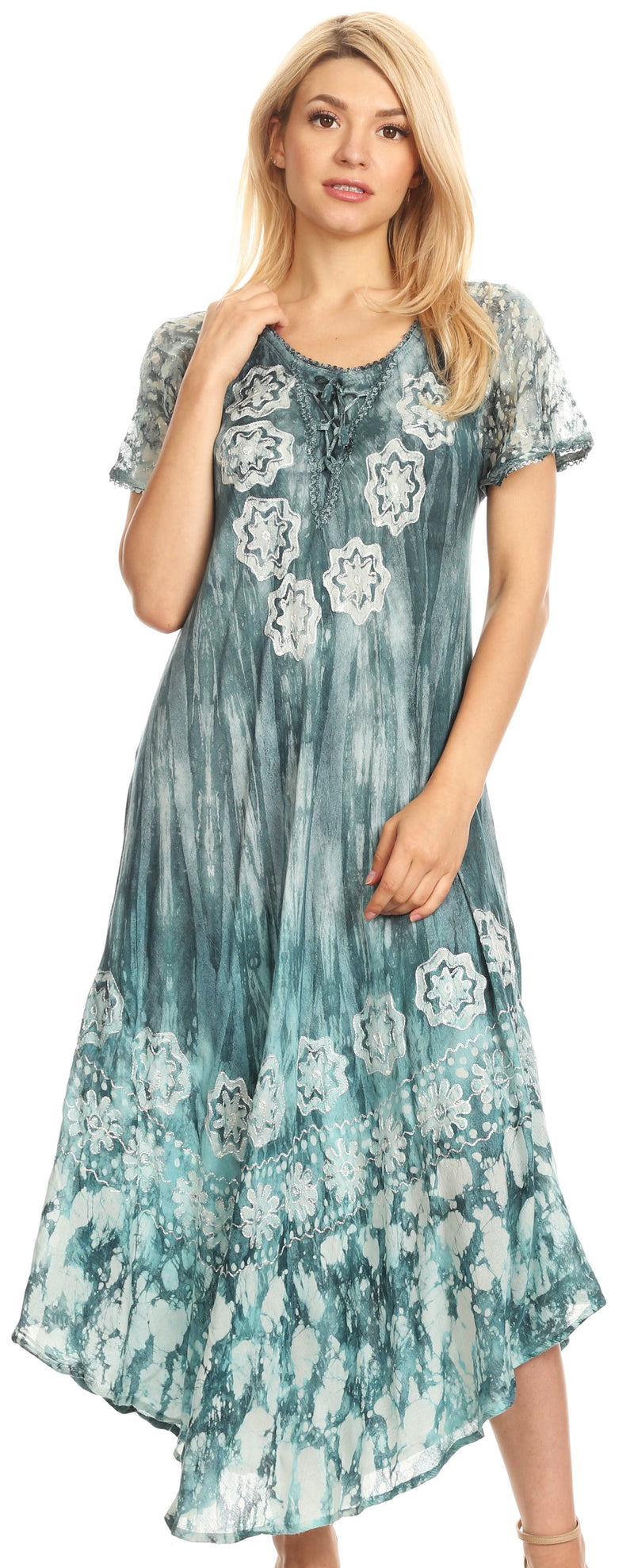 group-Sky gray (Sakkas Sofia Women's Flowy Summer Maxi Beach Dress Tie-dye w/Batik & Short Sleeves)