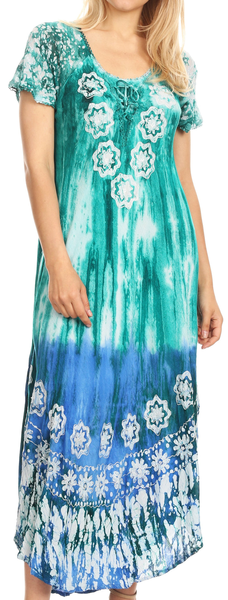 group-Teal (Sakkas Sofia Women's Flowy Summer Maxi Beach Dress Tie-dye w/Batik & Short Sleeves)