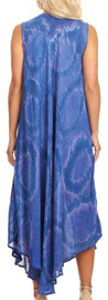 group-Blue (Sakkas Rocio Women's Sleeveless Caftan Beach Cover up Dress Casual Relaxed Tie dye)