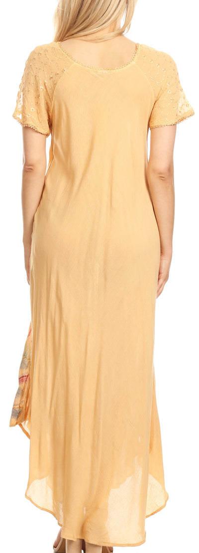 group-Beige (Sakkas Irem Women  Everyday Caftan Long Dress Kaftan with Corset and Lace Sleeves)