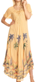 Sakkas Irem Women  Everyday Caftan Long Dress Kaftan with Corset and Lace Sleeves#color_Beige