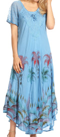 Sakkas Irem Women  Everyday Caftan Long Dress Kaftan with Corset and Lace Sleeves#color_Blue