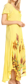 group-Butter Yellow (Sakkas Irem Women  Everyday Caftan Long Dress Kaftan with Corset and Lace Sleeves)